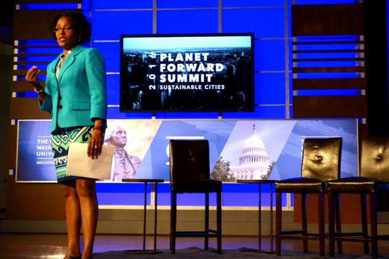 """Whether you're building or rebuilding a city, sustainability is everyone's responsibility."" - NLC President Melodee Colbert-Kean (Joplin City Council) addresses the Planet Forward Summit at George Washington University on Thursday, April 22, 2016."